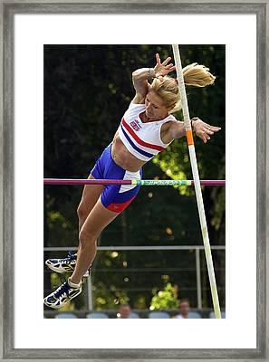 Senior British Female Pole Vaulter Framed Print by Alex Rotas