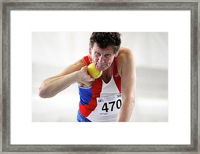 Senior British Male Shot Put Competitor Framed Print by Alex Rotas