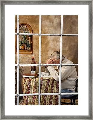 Senior Male Praying Framed Print