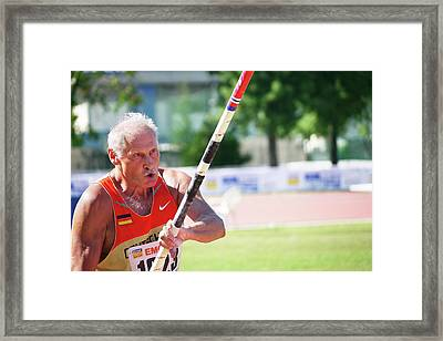 Senior Pole Vaulter Ready To Go Framed Print by Alex Rotas