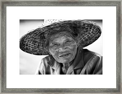Senior Vendor Thai Woman Framed Print