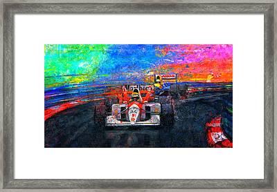 Senna For The Win Framed Print by Alan Greene