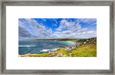 Sennen Cove Panorama - Cornwall Framed Print by Mark E Tisdale
