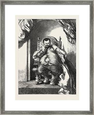 Senor Don Sancho Panza, Governor Of Barataria Framed Print by Gilbert, Sir John (1817-97), English
