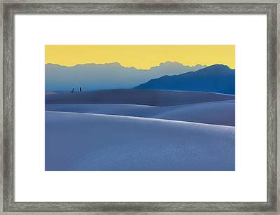 Sense Of Scale - White Sands - Sunset Framed Print by Nikolyn McDonald