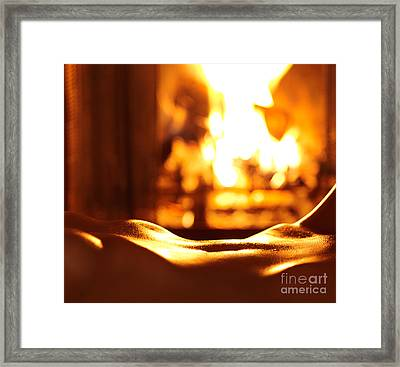 Sensual Closeup Of Nude Woman In Front Of Fireplace Framed Print by Oleksiy Maksymenko