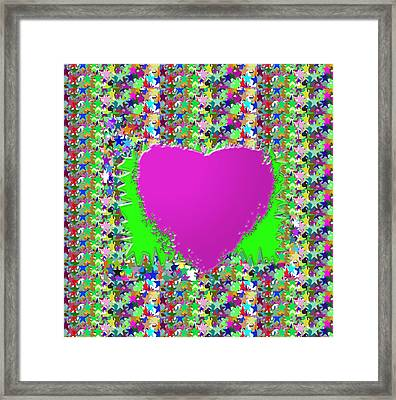 Framed Print featuring the photograph Sensual Pink Heart N Star Studded Background by Navin Joshi