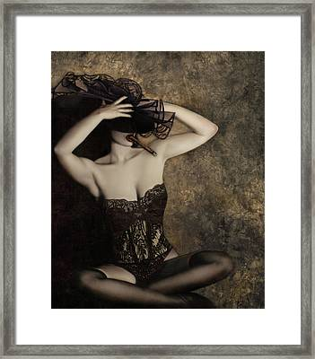 Sensuality In Sepia - Self Portrait Framed Print by Jaeda DeWalt