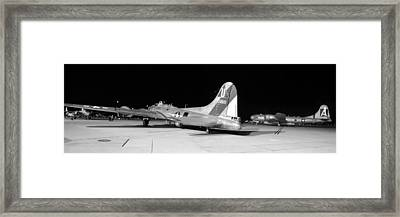 Sentimental Journey Fifi And Maid In The Shade Panorama Grayscale Night March 2 2013 Framed Print by Brian Lockett