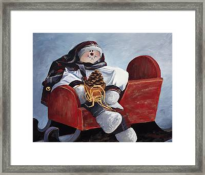 Sentimental Snowman Framed Print by Mary Giacomini