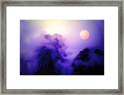 Sentinal Rock And Moon Shrouded In Mist Framed Print
