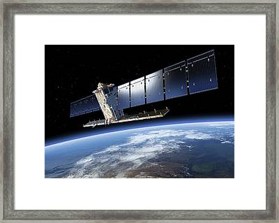 Sentinel-1 Satellite In Orbit Framed Print by Atg Medialab/esa