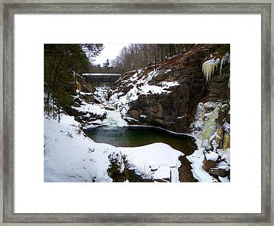 Sentinel Pine Bridge In Winter Framed Print