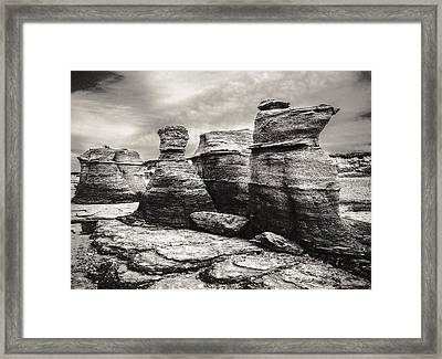 Framed Print featuring the photograph Sentinel Rocks by Arkady Kunysz
