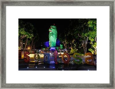 Sentosa Merlion Framed Print by Donald Chen