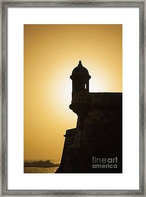 Sentry Box At Sunset At El Morro Fortress In Old San Juan Framed Print