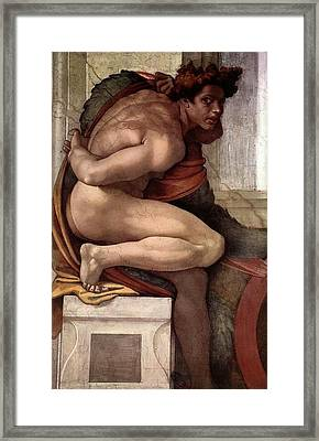 Separation Of Land From Sea - Ignudo Detail Framed Print by Michelangelo Buonarroti