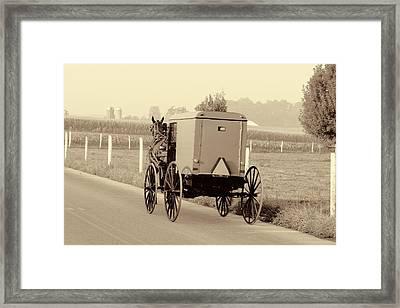Sepia Amish Buggy Framed Print