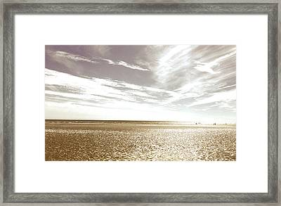 Sepia Beach Framed Print