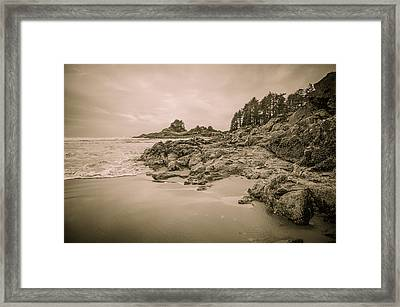 Cox Bay Sepia Framed Print by Roxy Hurtubise