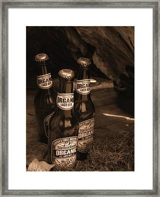 Framed Print featuring the photograph Sepia Bottles by Rachel Mirror