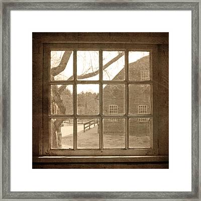 Sepia Colonial Scene Through Antique Window Framed Print
