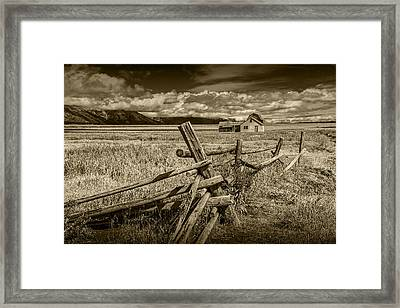 Sepia Colored Photo Of A Wood Fence By The John Moulton Farm Framed Print