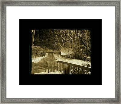 Sepia - Country Road First Snow Framed Print by Absinthe Art By Michelle LeAnn Scott