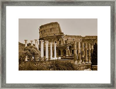 Sepia Image Of Columns Of The Forum Framed Print