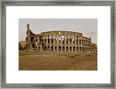 Sepia Image Of The Colosseum Or Roman Framed Print
