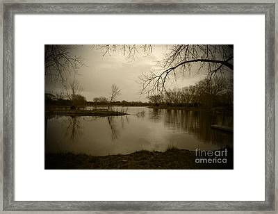 Sepia Lake Framed Print