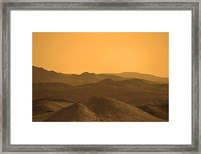 Sepia Mountains Framed Print