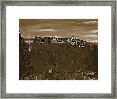 Sepia Quilts Framed Print