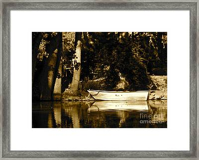 Sepia Rowboat Framed Print by Vinnie Oakes