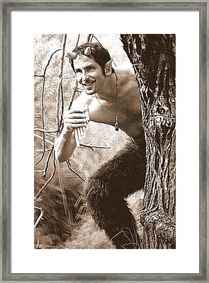 Sepia Satyr Framed Print by Rollin Jewett
