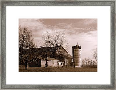 Sepia Tone Farm Late Autumn Framed Print by Rosemarie E Seppala