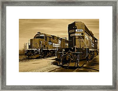 Sepia Trains Framed Print by Frozen in Time Fine Art Photography
