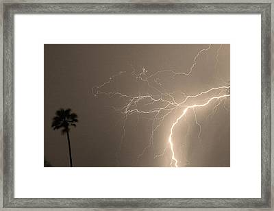 Sepia Tropical Thunderstorm Night  Framed Print by James BO  Insogna
