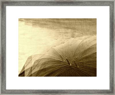 Sepia Umbrella Impressions In The Rain Framed Print by Suzanne Powers