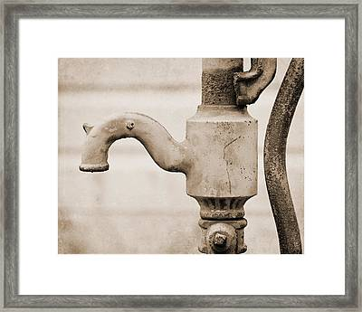 Sepia Water Pump Framed Print