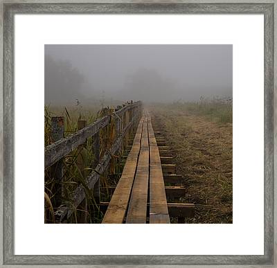 September Mist Hdr - Foggy Day Over Walk Way Framed Print