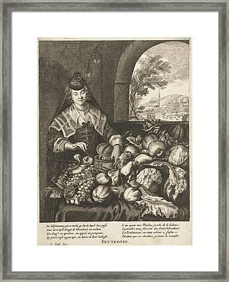 September Represented As Woman At Table Laden With Fruits Framed Print by Cornelis Van Dalen Ii And Anonymous And Joachim Von Sandrart