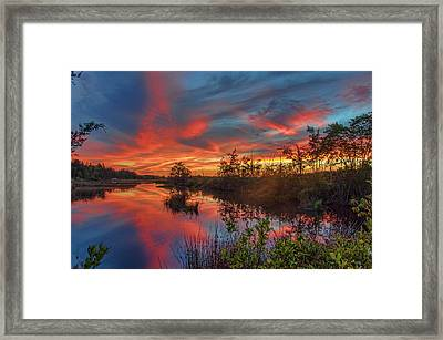 September Sunset Reflection Framed Print