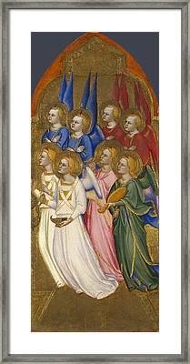 Seraphim Cherubim And Adoring Angels Framed Print by Jacopo di Cione and Workshop