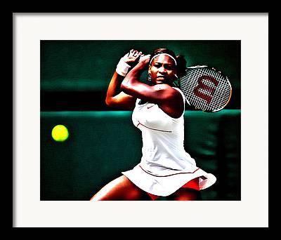 Womens Tennis Digital Art Framed Prints