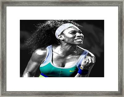 Serena Williams Ace Framed Print by Brian Reaves