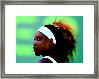 Serena Williams Match Point Framed Print by Brian Reaves