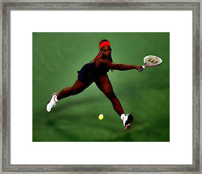 Serena Williams On Point Framed Print by Brian Reaves