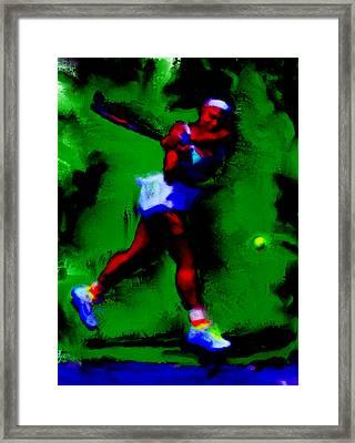 Serena Williams Powerful Return Framed Print by Brian Reaves