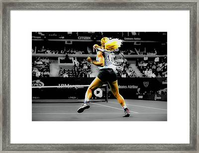 Serena Williams Return Framed Print by Brian Reaves